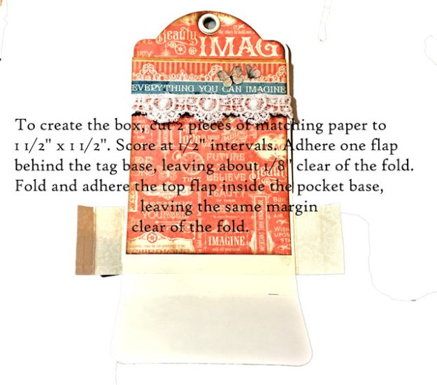 How to Make A Graphic 45 Large Ivory Tag Pocket Tutorial by Kathy Clement Photo 04
