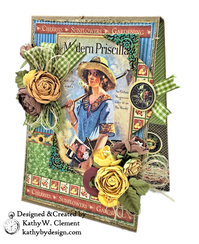 Graphic 45 Place in Time Garden Themed Birthday Card Tutorial by Kathy Clement Photo