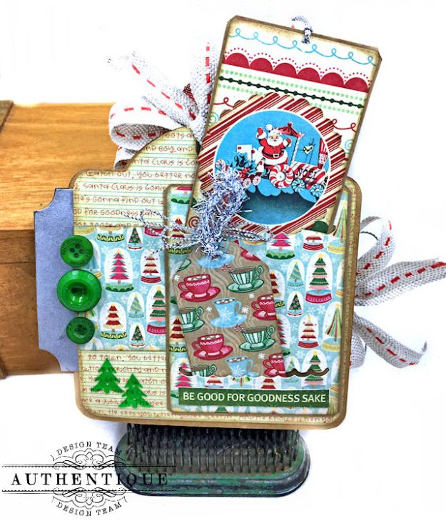 Authentique Jingle Gift Card Ornament Tags Video Tutorial by Kathy Clement Photo 03