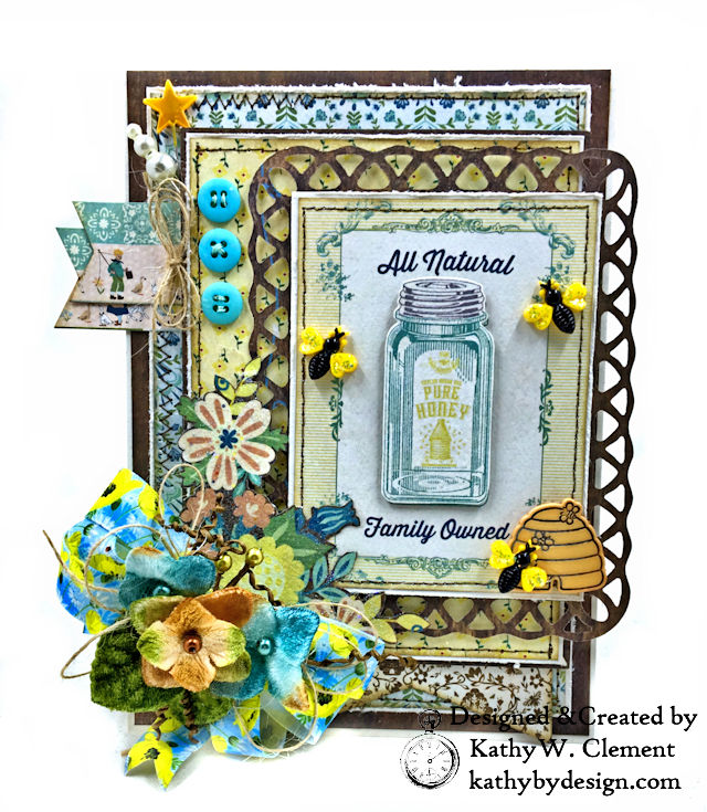 Authentique Meadow Pure Honey Greeting Card by Kathy Clement for Really Reasonable Ribbon Photo