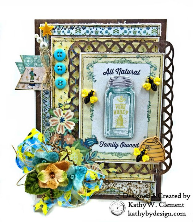 Authentique Meadow Pure Honey Greeting Card by Kathy Clement for Really Reasonable Ribbon Photo 02