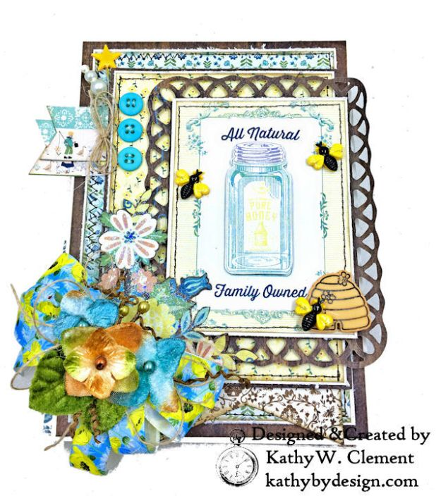 Authentique Meadow Pure Honey Greeting Card by Kathy Clement for Really Reasonable Ribbon Photo 01