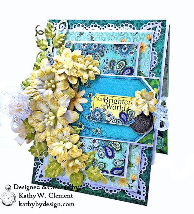 Heartfelt Creations Delightful Daisies Peacock Paisley Card Folio by Kathy Clement Photo 01a