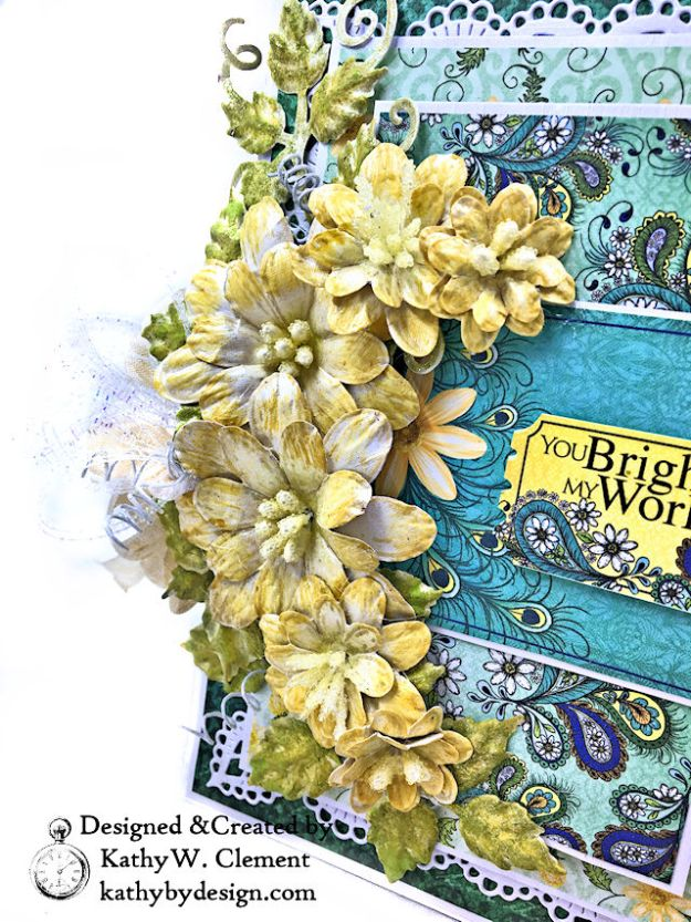 Heartfelt Creations Delightful Daisies Peacock Paisley Card Folio by Kathy Clement Photo 05