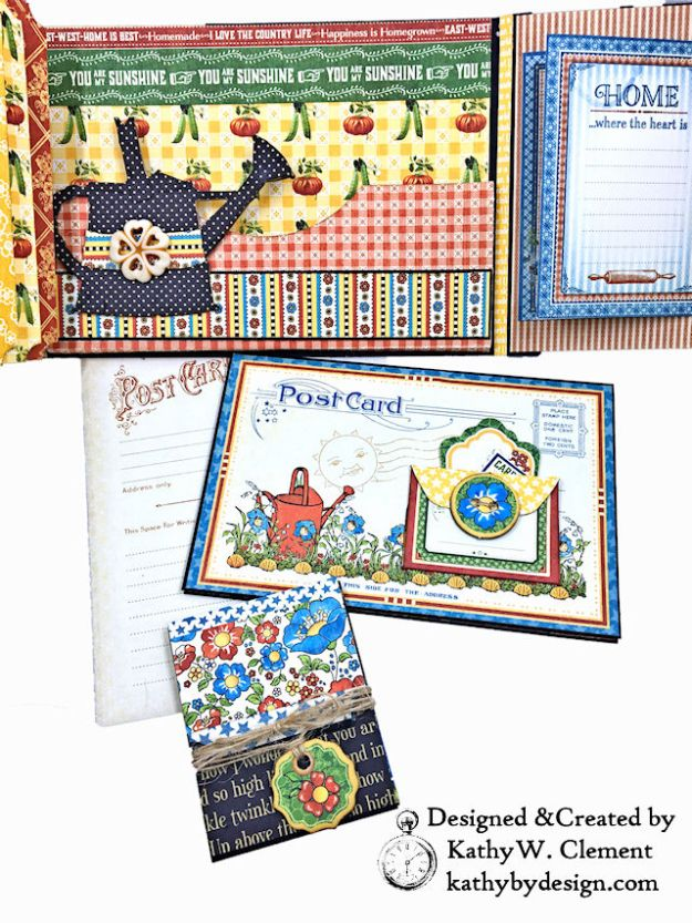 Home Sweet Home Garden Themed Mother Goose Shaker Top Folio by Kathy Clement for Really Reasonable Ribbon Product by Graphic 45 Photo 04