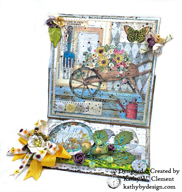 Life Began in a Garden Easel Card Garden by Kathy Clement for Really Reasonable Ribbon Product by Stamperia Photo 01