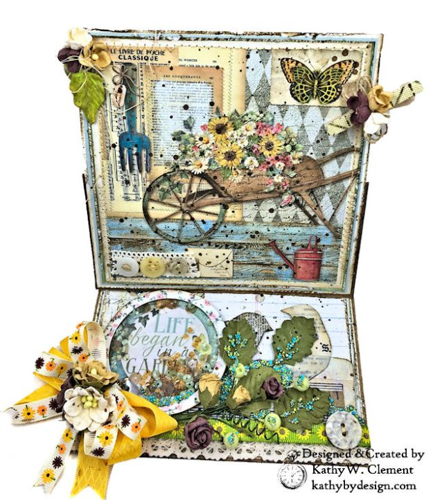 Stamperia Life Began in a Garden Easel Card Garden by Kathy Clement for Really Reasonable Ribbon Product Photo 02