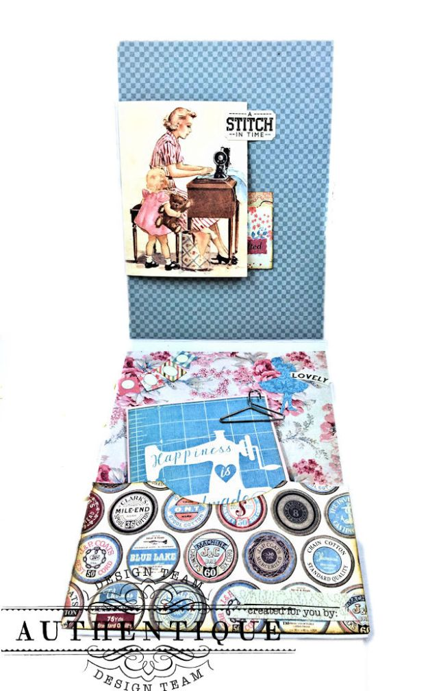 Authentique Stitches Collection Meets Card Maps Sewing Themed Greeting Card by Kathy Clement Product by Authentique Photo 09