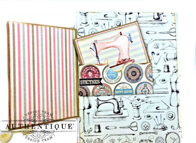 Authentique Stitches Collection Meets Card Maps Sewing Themed Greeting Card by Kathy Clement Product by Authentique Photo 04