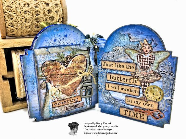 Kindness Can Change the World Shaker Triptych Tutorial Stamperia Blue Stars Tim Holtz Vintage Cabinet Card by Kathy Clement for The Funkie Junkie Boutique Photo 07