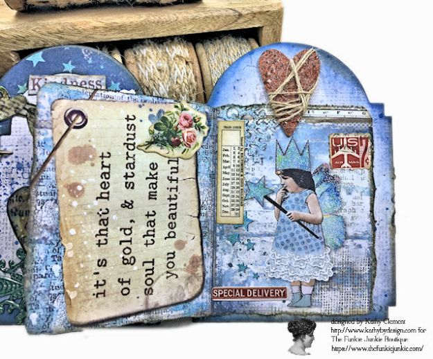 Kindness Can Change the World Shaker Triptych Tutorial Stamperia Blue Stars Tim Holtz Vintage Cabinet Card by Kathy Clement for The Funkie Junkie Boutique Photo 09
