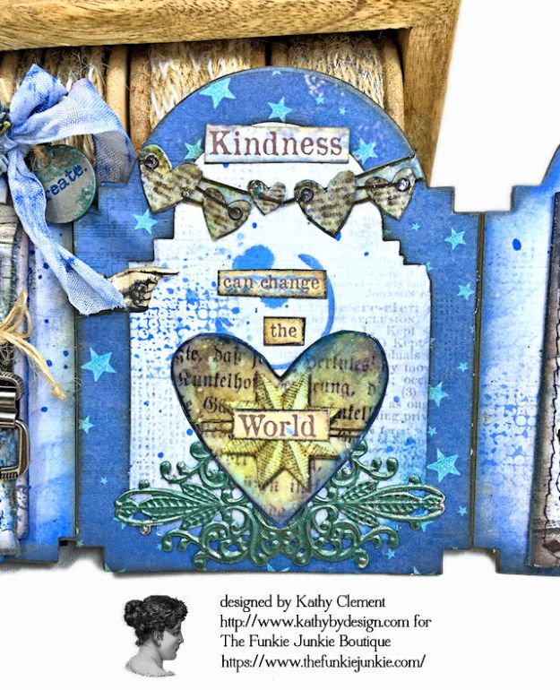 Kindness Can Change the World Shaker Triptych Tutorial Stamperia Blue Stars Tim Holtz Vintage Cabinet Card by Kathy Clement for The Funkie Junkie Boutique Photo 10