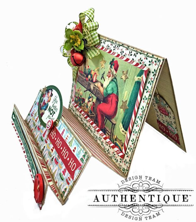 Authentique Jingle Easel Step Card Tutorial by Kathy Clement Photo 02