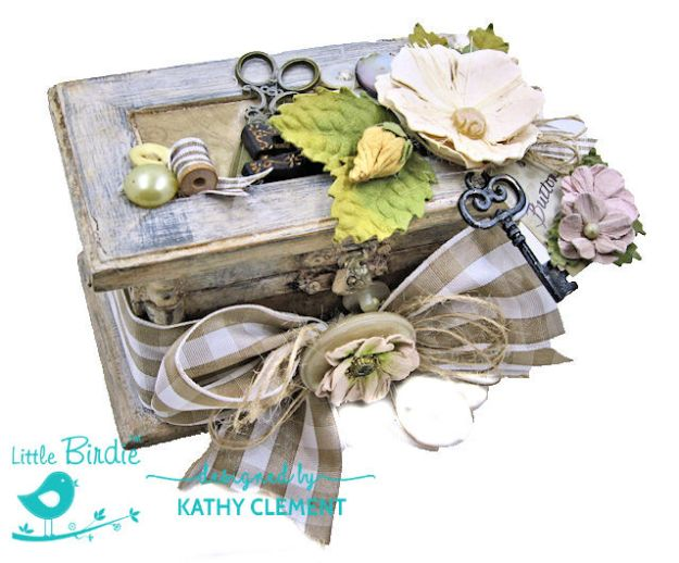 Shabby Chic Altered Button Box by Kathy Clement for Little Birdie Crafts Photo 08
