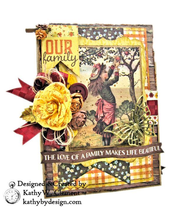 Apple Picking Birthday Card Folio Pleasant by Kathy Clement for Really Reasonable Ribbon Product by Authentique Photo 01
