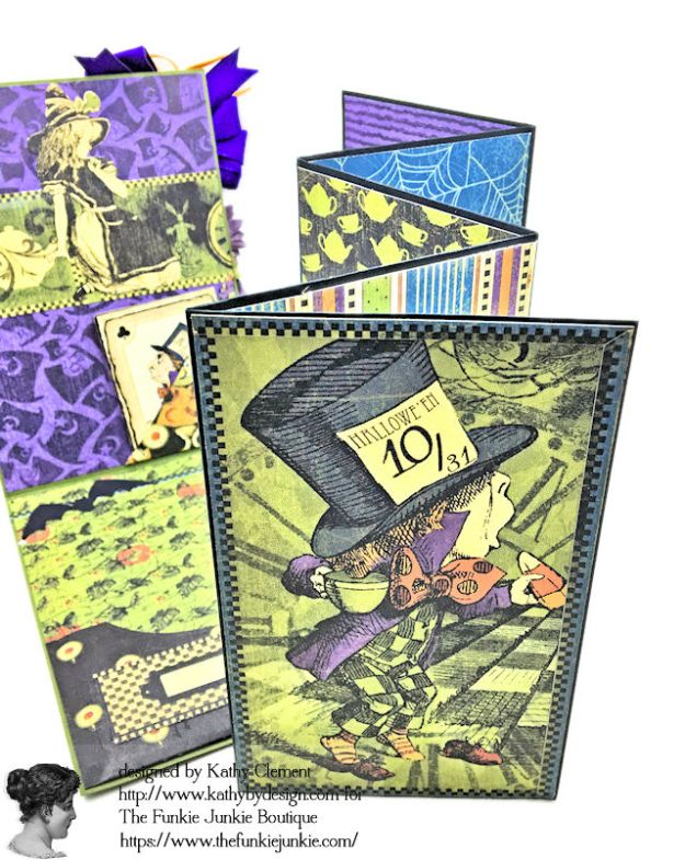 Graphic 45 Halloween in Wonderland Mixed Media Cards Tutorial by Kathy Clement for The Funkie Junkie Boutique Photo 05
