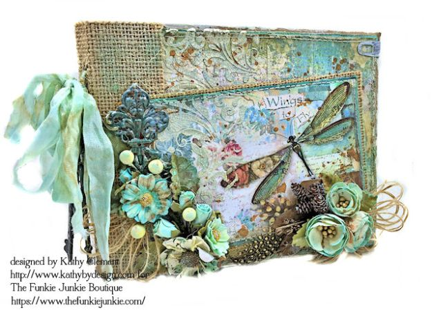 Dragonfly Days Pocket and Tag Folio Tutorial Wonderland by Kathy Clement for the Funkie Junkie Boutique Product by Stamperia Photo 01
