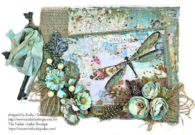 Dragonfly Days Pocket and Tag Folio Tutorial Wonderland by Kathy Clement for the Funkie Junkie Boutique Product by Stamperia Photo 02