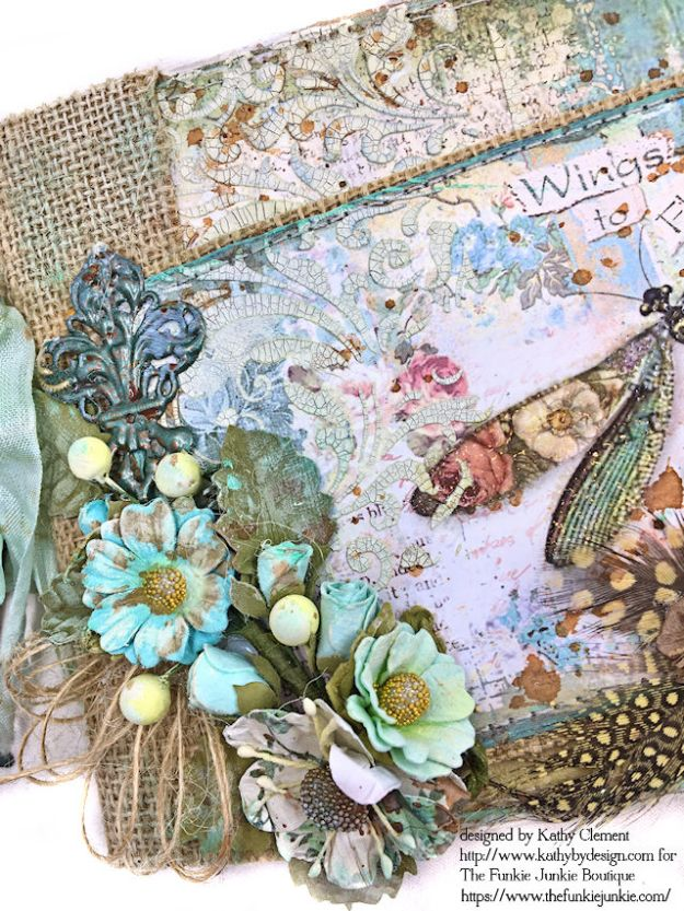 Dragonfly Days Pocket and Tag Folio Tutorial Wonderland by Kathy Clement for the Funkie Junkie Boutique Product by Stamperia Photo 06