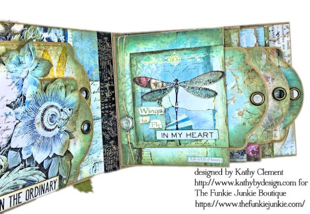 Dragonfly Days Pocket and Tag Folio Tutorial Wonderland by Kathy Clement for the Funkie Junkie Boutique Product by Stamperia Photo 08