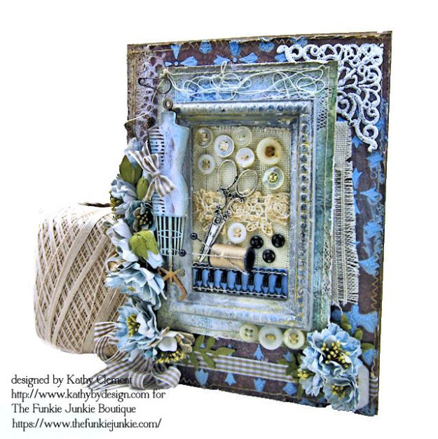 Stamperia Atelier Sewing Themed Folio with Tutorial by Kathy Clement for the Funkie Junkie Boutique Photo 02