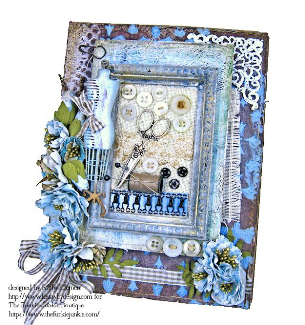 Stamperia Atelier Sewing Themed Folio with Tutorial by Kathy Clement for the Funkie Junkie Boutique Photo 06