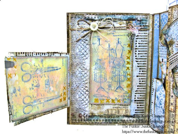 Stamperia Atelier Sewing Themed Folio with Tutorial by Kathy Clement for the Funkie Junkie Boutique Photo 09