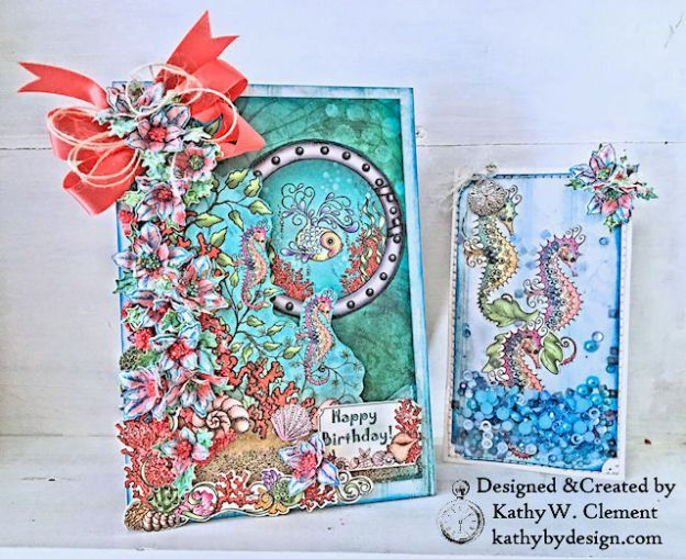 Heartfelt Creations Coral Sea Birthday Shaker Card Under the Sea by Kathy Clement Photo 03
