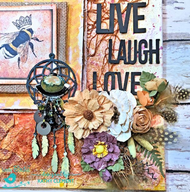 Sweet Life Mixed Media Canvas Tutorial by Kathy Clement for Little Birdie Crafts Photo 03