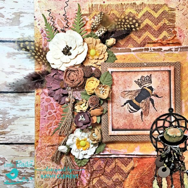 Sweet Life Mixed Media Canvas Tutorial by Kathy Clement for Little Birdie Crafts Photo 04
