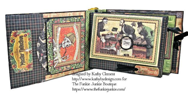 G45 Master Detective Faux Rust Mini Album by Kathy Clement for The Funkie Junkie Boutique Photo 06