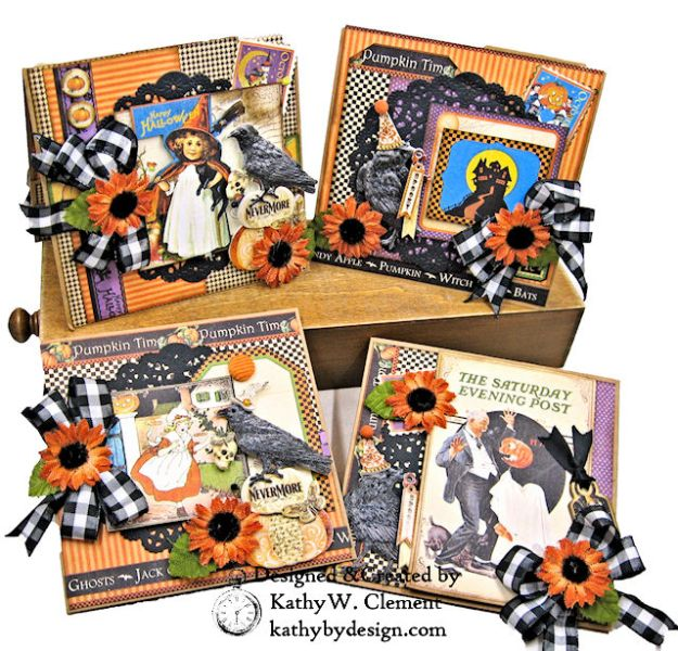 #Simply G45 Halloween Pocket Cards Tutorial Place in Time by Kathy Clement Product by Graphic 45 Photo 01