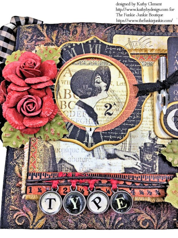 G45 Communique Faux Embossed Leather Mini Album Tutorial by Kathy Clement for The Funkie Junkie Boutique Photo 05