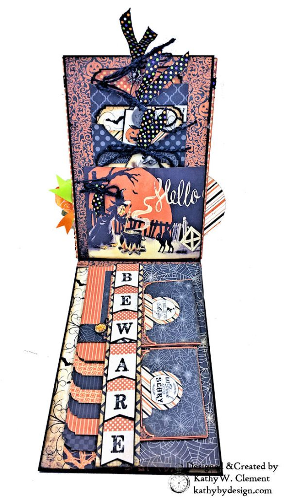 Witches Halloween Ball Card Folio by Kathy Clement for Really Reaonable Ribbon Product by Authentique Paper Photo 04