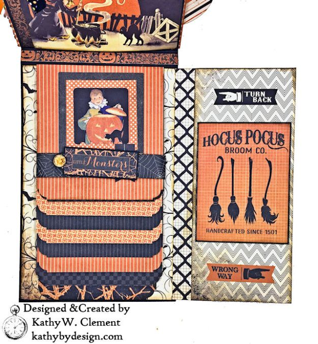Witches Halloween Ball Card Folio by Kathy Clement for Really Reaonable Ribbon Product by Authentique Paper Photo 06