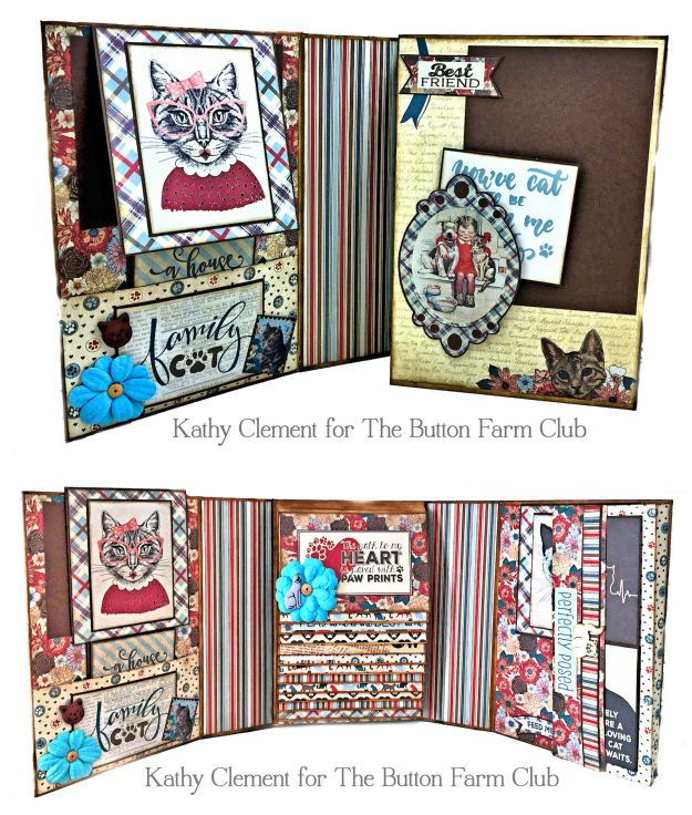 Button Farm Club Companions Waterfall Mini Album Kit Cats by Kathy Clement Product by Authentique Photo 02