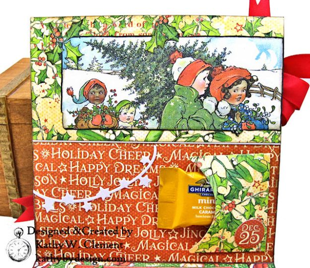 Graphic 45 Christmas Magic Easel Card by Kathy Clement for Really Reasonable Ribbon Photo 05