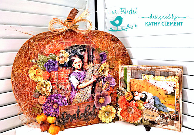 Mixed Media Pumpkin Harvest Home Decor by Kathy Clement for Little Birdie Crafts Photo 01