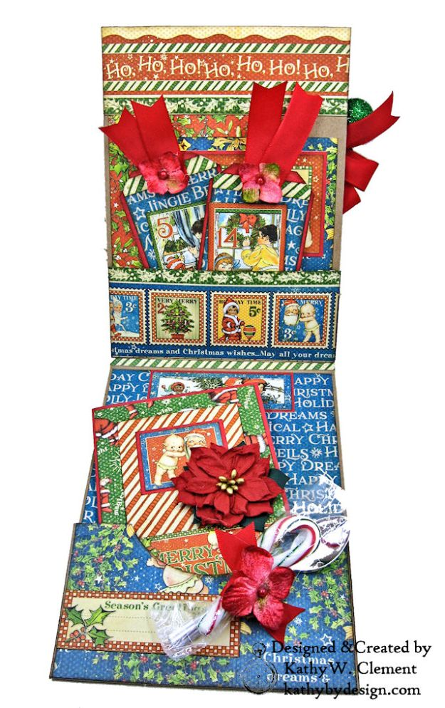 Holiday Cheer Christmas Magic Card Folio by Kathy Clement for Really Reasonable Ribbon Product by Graphic 45 Photo 04