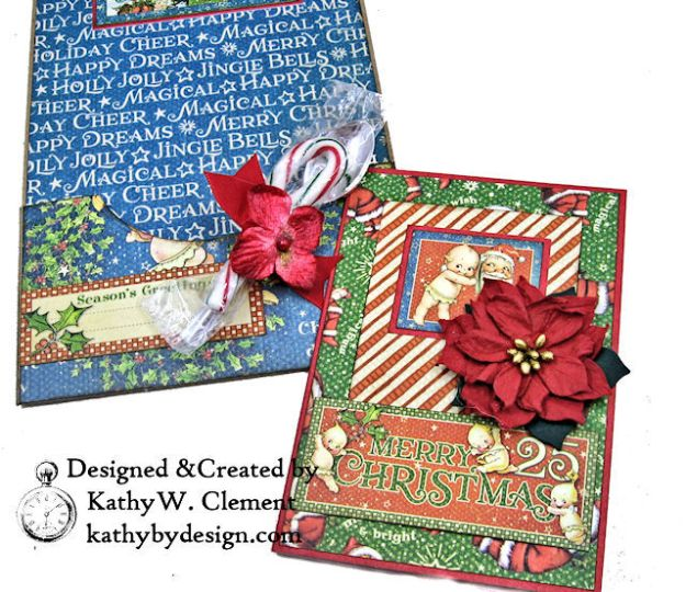 Holiday Cheer Christmas Magic Card Folio by Kathy Clement for Really Reasonable Ribbon Product by Graphic 45 Photo 08