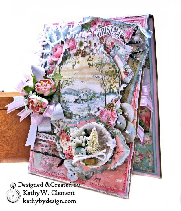 Stamperia Pink Christmas Card Folio by Kathy Clement for Really Reasonable Ribbon Photo 03