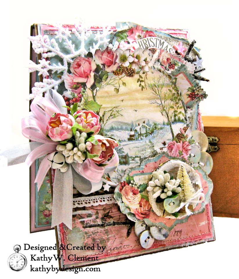 Stamperia Pink Christmas Card Folio by Kathy Clement for Really Reasonable Ribbon Photo 01