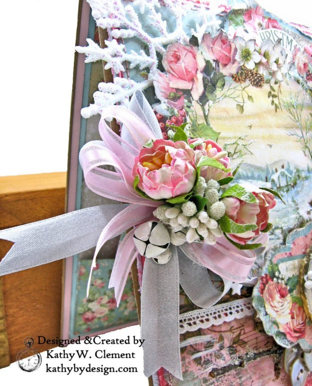 Stamperia Pink Christmas Card Folio by Kathy Clement for Really Reasonable Ribbon Photo 04