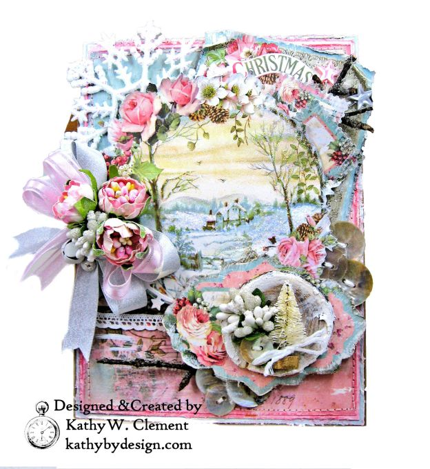 Stamperia Pink Christmas Card Folio by Kathy Clement for Really Reasonable Ribbon Photo 12