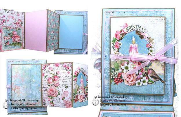 Stamperia Pink Christmas Card Folio by Kathy Clement for Really Reasonable Ribbon Photo 07