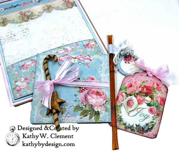 Stamperia Pink Christmas Card Folio by Kathy Clement for Really Reasonable Ribbon Photo 08