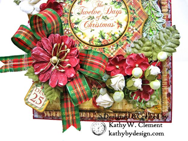 Graphic 45 Twelve Days of Christmas Card Folio Tim Holtz Laurel Impresslits Wreath by Kathy Clement for The Funkie Junkie Boutique Photo 05