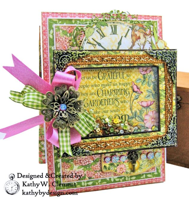 Blooming Beautiful Graphic 45 Garden Goddess Shaker Card by Kathy Clement for Really Reasonable Ribbon Photo 02