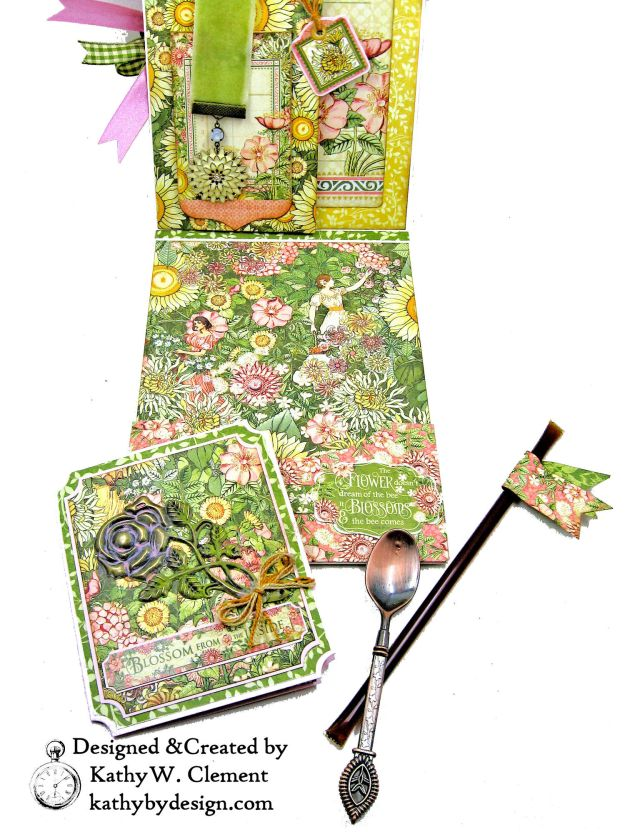 Blooming Beautiful Graphic 45 Garden Goddess Shaker Card by Kathy Clement for Really Reasonable Ribbon Photo 05