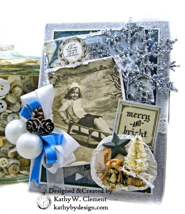 Frosted Memories Vintage Style Christmas Card Folio by Kathy Clement Kaisercraft Frosted for Really Reasonable Ribbon Photo 01